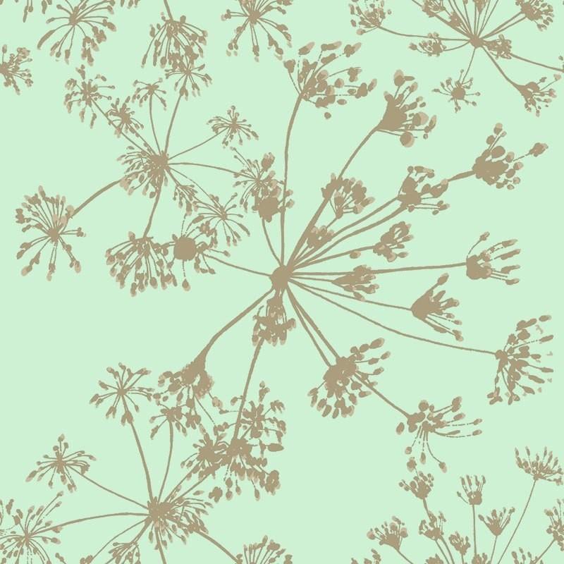 Papel pintado algodones oro plata y verde matkawalls for Papel pintado azul y plata