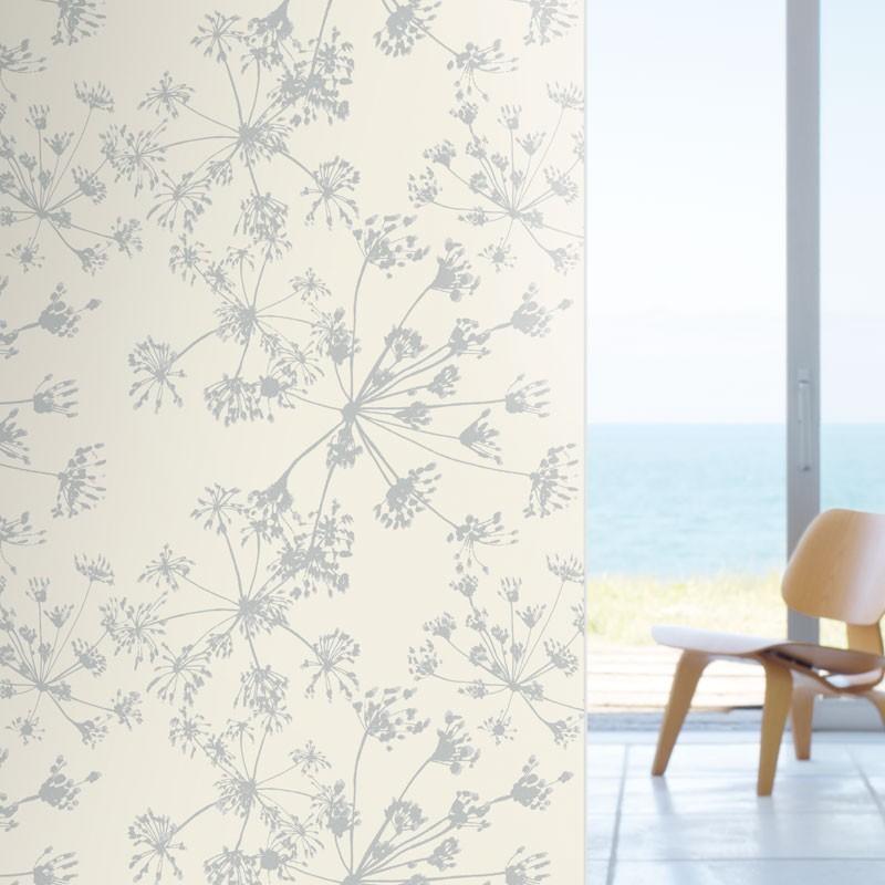Papel pintado algodones blanco y plata matkawalls - Papel pintado plateado ...