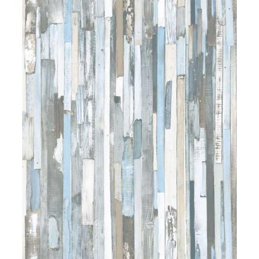 Papel pintado tablones de madera azul y gris matkawalls - Papel pintado imitacion madera ...