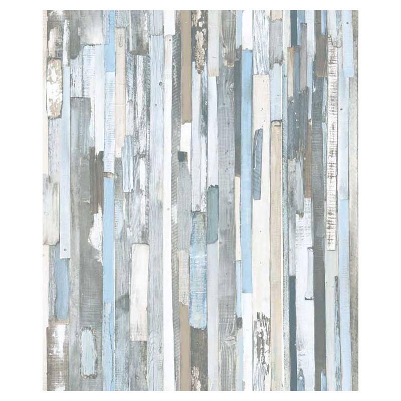 Papel pintado tablones de madera azul y gris matkawalls - Ka internacional papel pintado ...