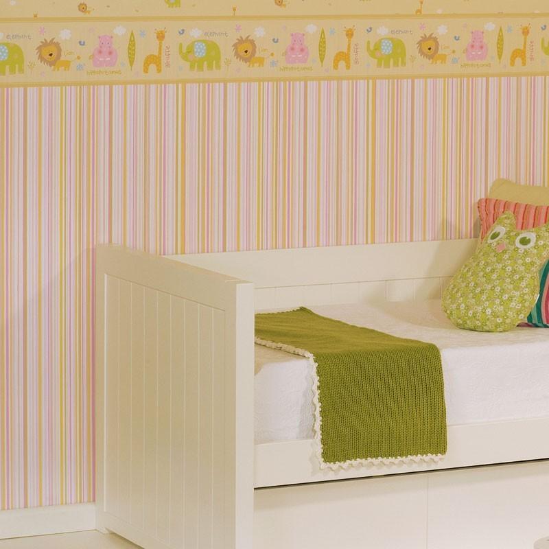 Papel pintado rayas multicolor rosa dorado y amarillo for Papel pintado dorado