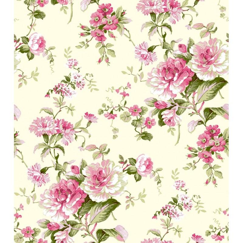 Papel pintado flor cl sica beige y rosa matkawalls - Papel pintado rosa ...