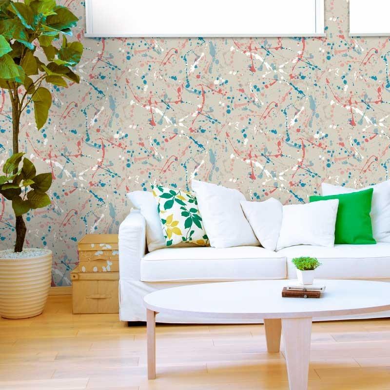 Papel pintado pintura beige azul y rosa matkawalls - Combinar pintura y papel pintado ...