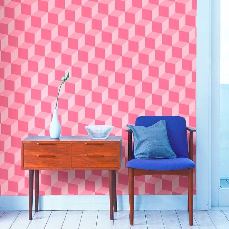 Papel pintado cubos 3d rosa matkawalls - Papel pintado 3d ...