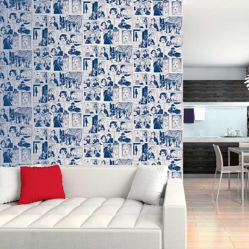 Papel pintado c mic azul matkawalls for Papel pintado azul