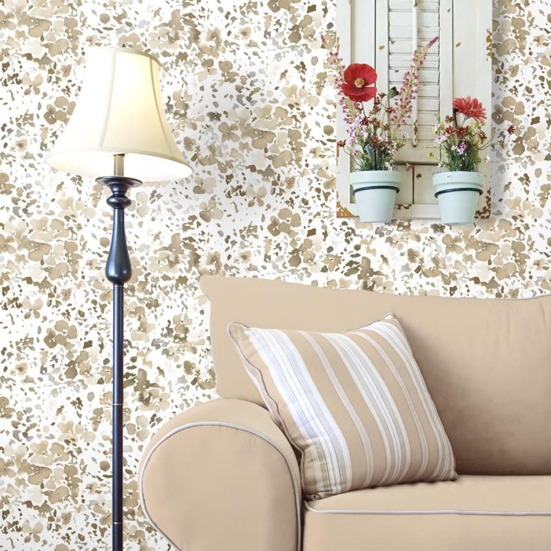 Papel pintado flores modernas beige matkawalls for Papel pintado beige