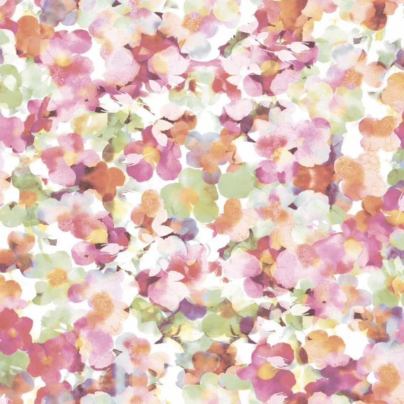 Papel pintado flores rom nticas rosa y verde matkawalls for Papel pintado azul y plata