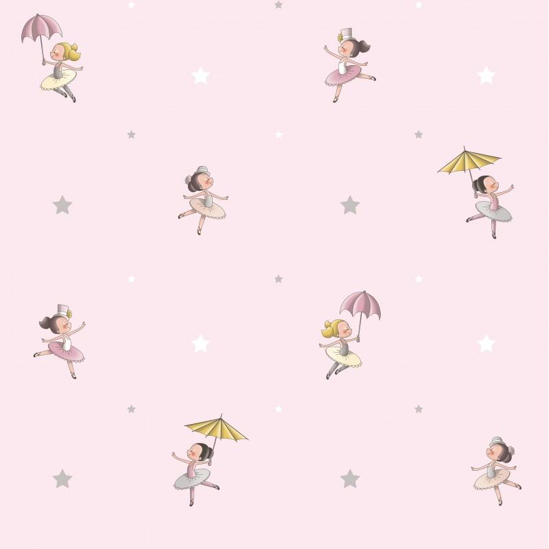 Papel pintado infantil bailarinas rosa matkawalls for Papel pintado rosa y gris