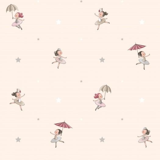 Papel pintado infantil bailarinas beige matkawalls for Papel pintado infantil