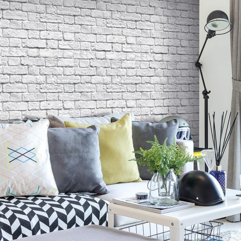Papel pintado ladrillo gris matkawalls - Papel de pared para pintar ...