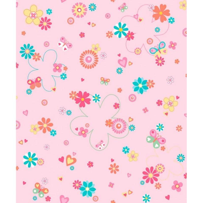 Papel pintado flores love rosa matkawalls - Papel pintado rosa ...
