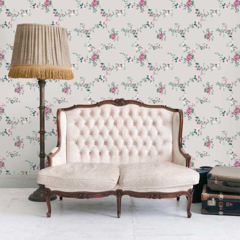Papel pintado flor textil gris matkawalls - Ka internacional papel pintado ...