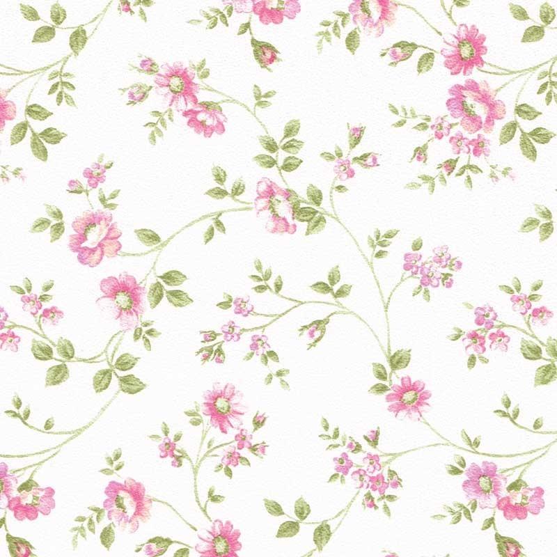 Papel pintado flor peque a rameada beige y rosa matkawalls - Papel pintado rosa ...