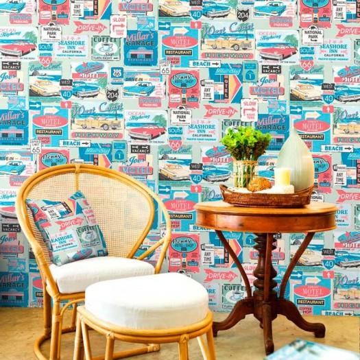Papel pintado vintage multicolor matkawalls - Ka internacional papel pintado ...