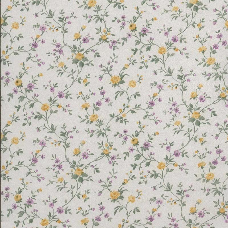 Papel pintado flor peque a amarillo y morado matkawalls - Papel pintado morado ...