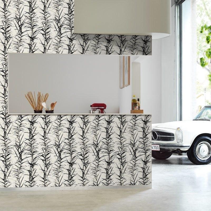 Papel pintado hojas de bamb i blanco y negro matkawalls for Papel pintado en blanco y plata