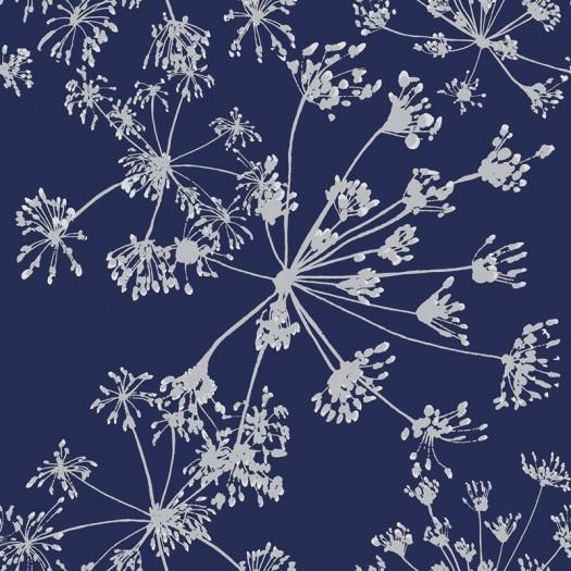PAPEL PINTADO Algodones Azul y Plata