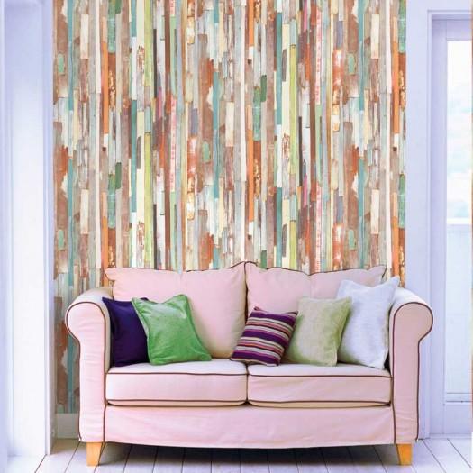 PAPEL PINTADO Tablones de madera Multicolor