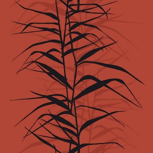 PAPEL PINTADO Hojas de bambú II Rojo y Negro