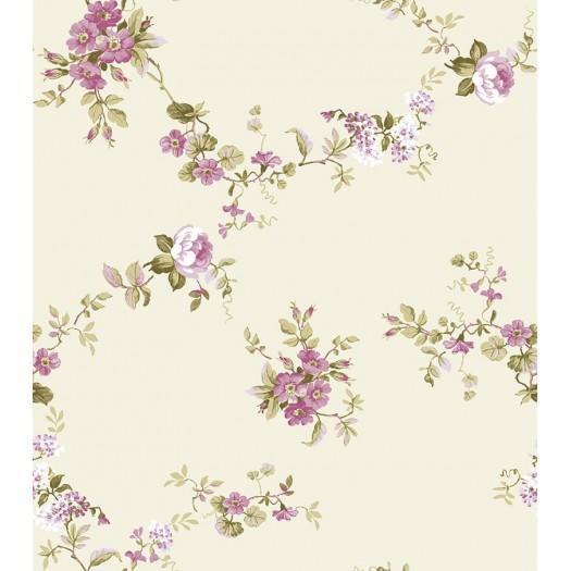 PAPEL PINTADO Flor textil Nácar y Beige