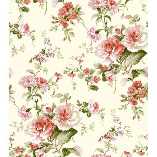 PAPEL PINTADO Flor clásica Beige y Terracota