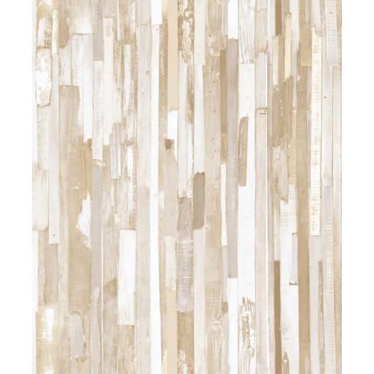PAPEL PINTADO Tablones de madera Beige