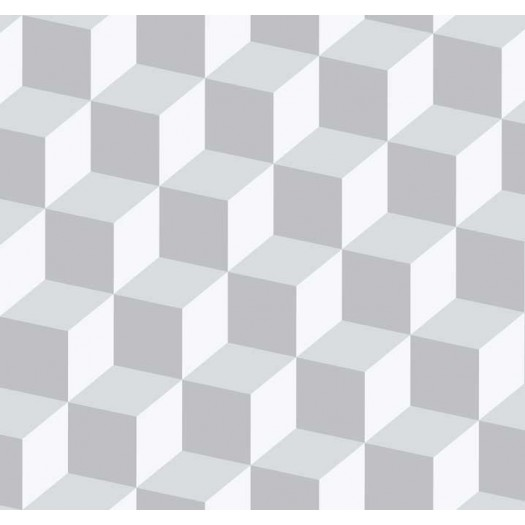 PAPEL PINTADO Cubos 3D Gris y Plata