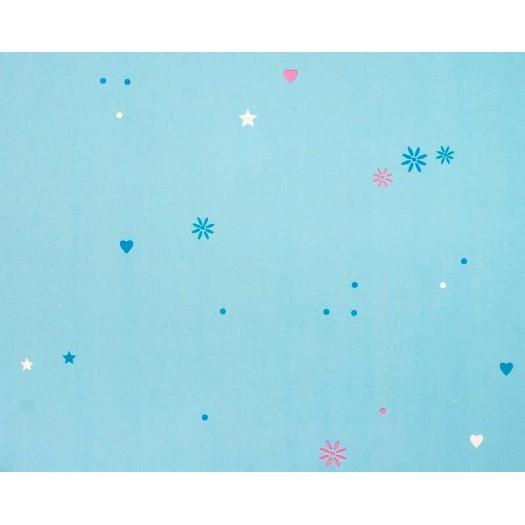 PAPEL PINTADO Corazones y estrellas Azul