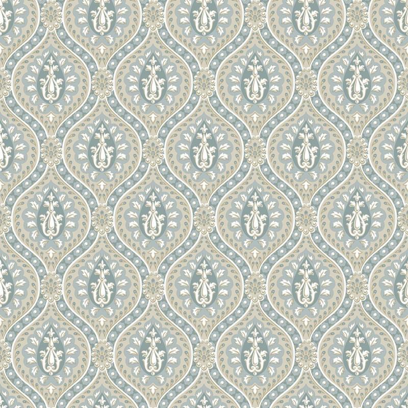 Papel pintado damasco de perlas azul y oro matkawalls - Papel pintado damasco ...