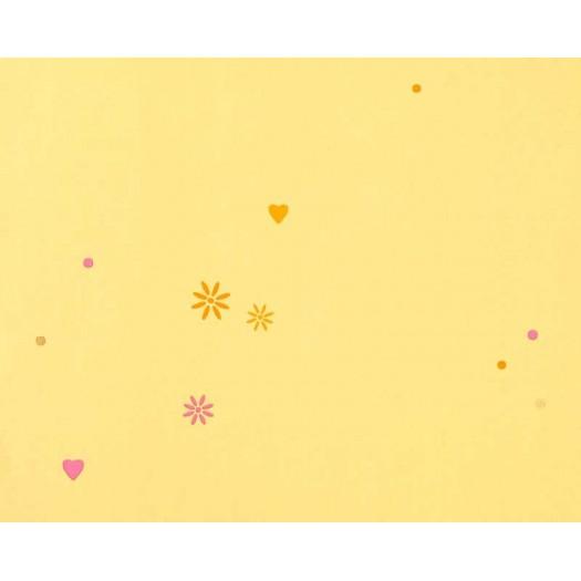 PAPEL PINTADO Corazones y estrellas Amarillo