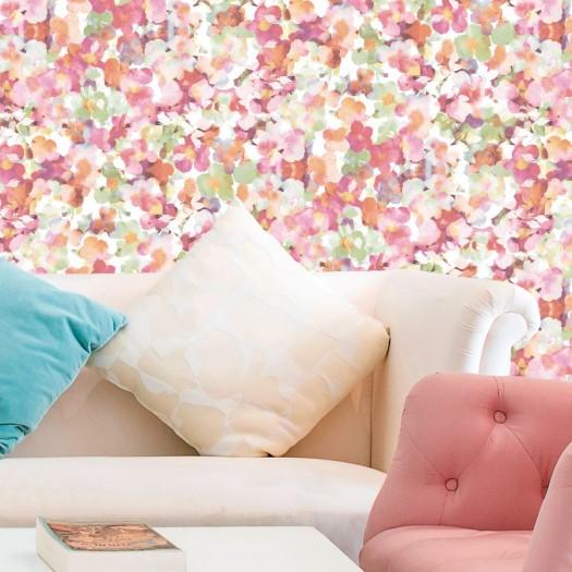 PAPEL PINTADO Flores románticas Rosa y Verde
