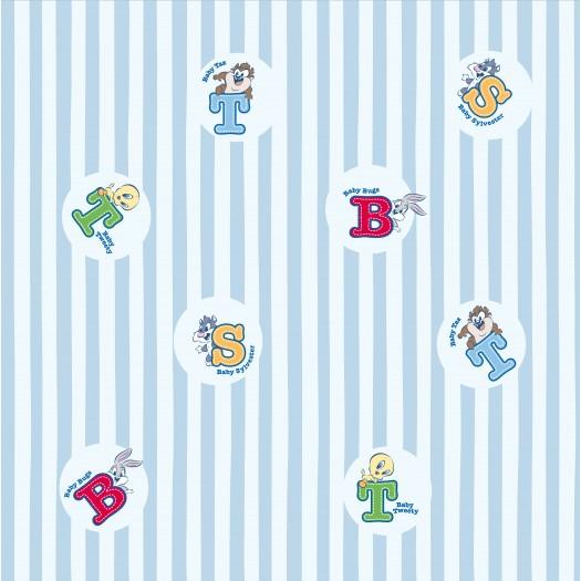 PAPEL PINTADO Letras Baby Looney Tunes Azul