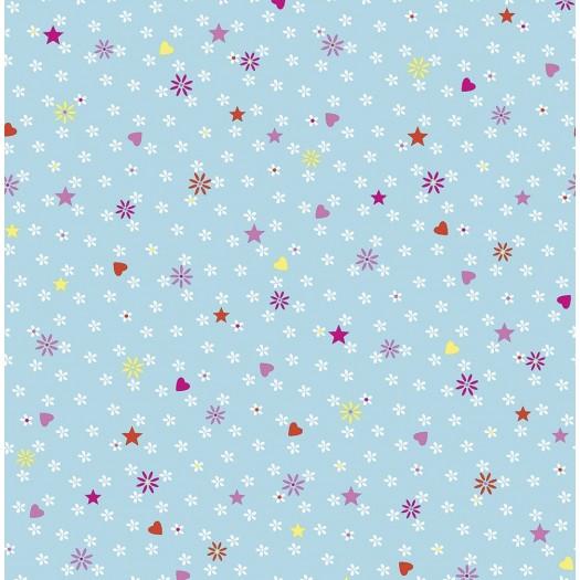 TELA Flores pequeñas Azul