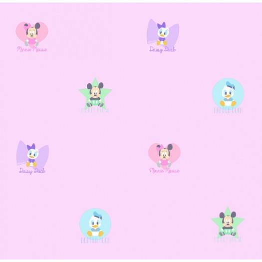 Papel Pintado Infantil Mickey & Friends Rosa