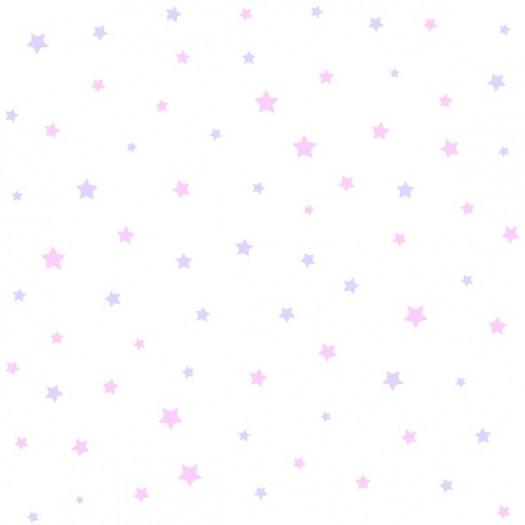 Papel Pintado Infantil PAPEL ESTRELLITAS Rosa-Lila