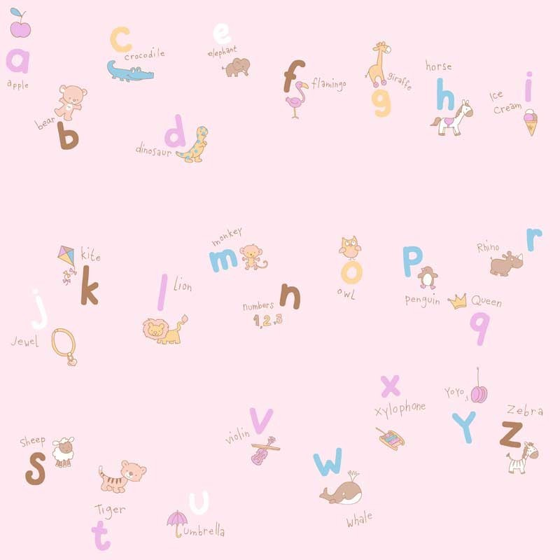 Papel pintado letras rosa matkawalls - Papel pintado rosa ...