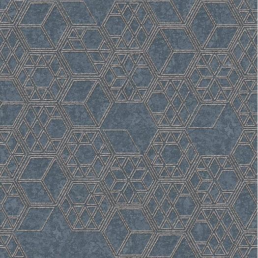 PAPEL PINTADO Cubos 3D combinados en diferentes tamaños azul gris