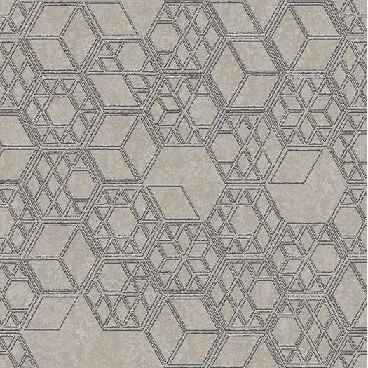 PAPEL PINTADO Cubos 3D combinados en diferentes tamaños plata beige