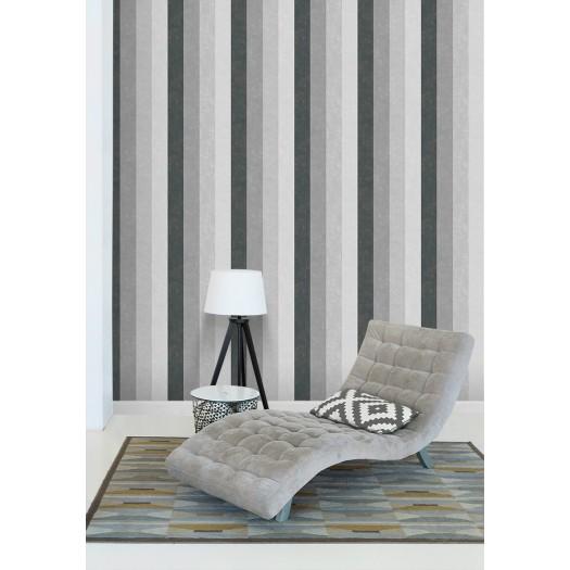 PAPEL PINTADO Rayas en diferentes tonos efecto terciopelo gris