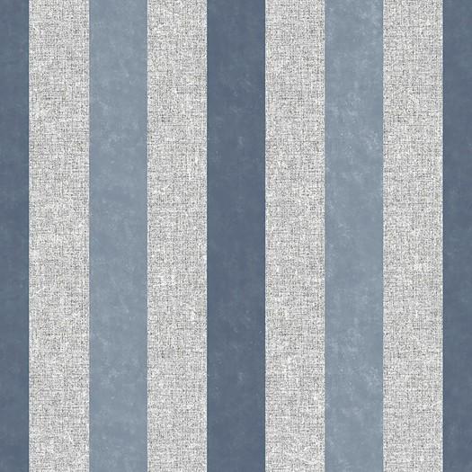 PAPEL PINTADO Rayas con efecto textil y terciopelo azul