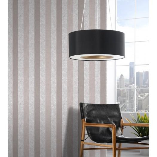 PAPEL PINTADO Rayas con efecto textil y terciopelo gris