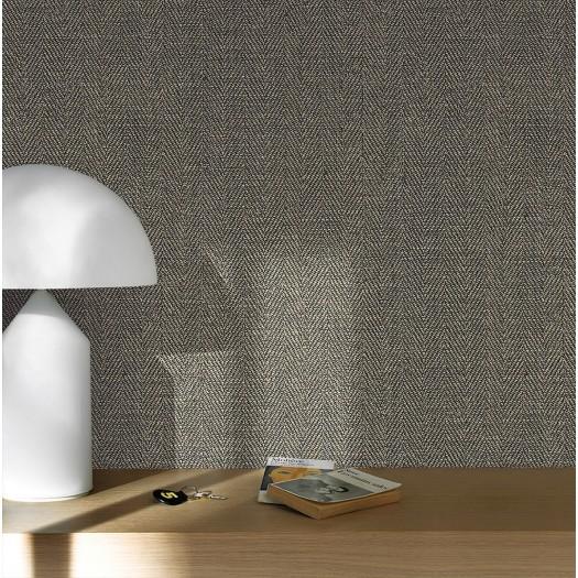 PAPEL PINTADO Textura Textil Espiga negro, oro