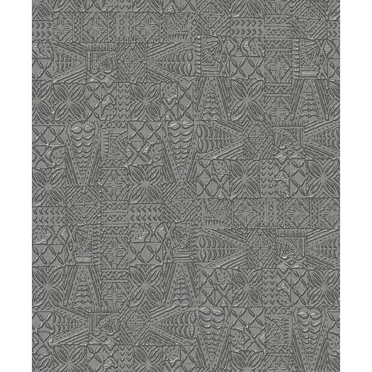 PAPEL PINTADO Efecto relieve grabado gris
