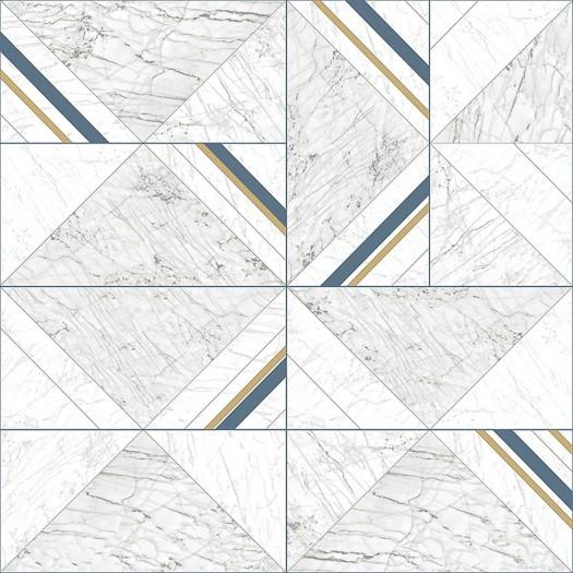 PAPEL PINTADO Geométrico mármol azul, oro