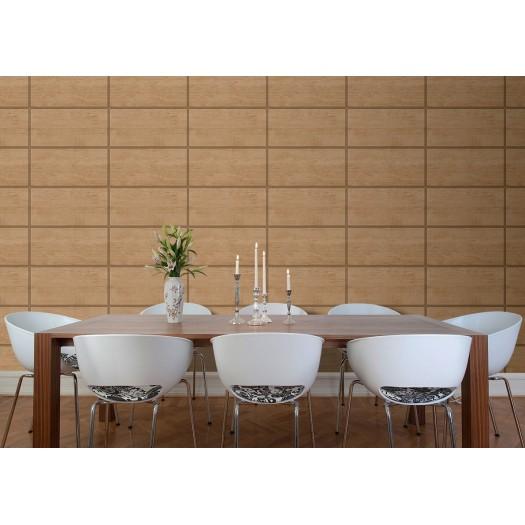 PAPEL PINTADO Cuarterones de madera cerezo y cobre