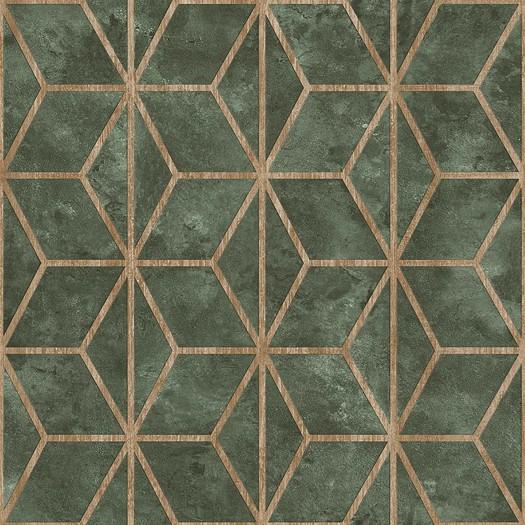 PAPEL PINTADO Geométrico de cubos con texturas verde
