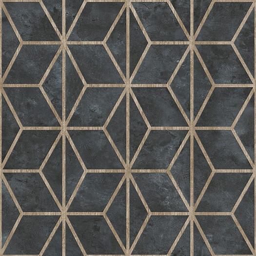 PAPEL PINTADO Geométrico de cubos con texturas negro