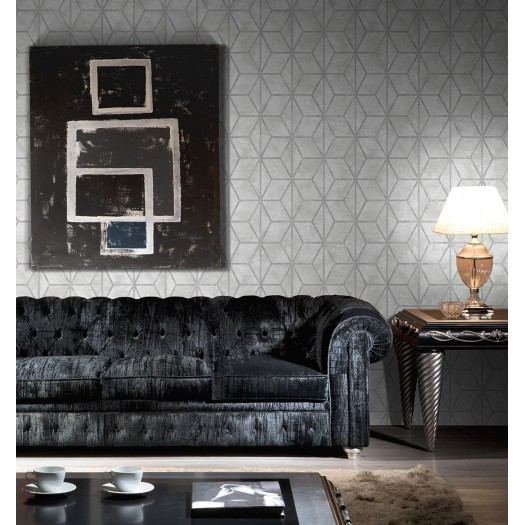 PAPEL PINTADO Geométrico de cubos con texturas gris