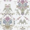 PAPEL PINTADO Diseño Damasco floral hilo seda blanco rosa azul
