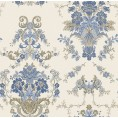 PAPEL PINTADO Diseño Damasco floral hilo seda beige azul
